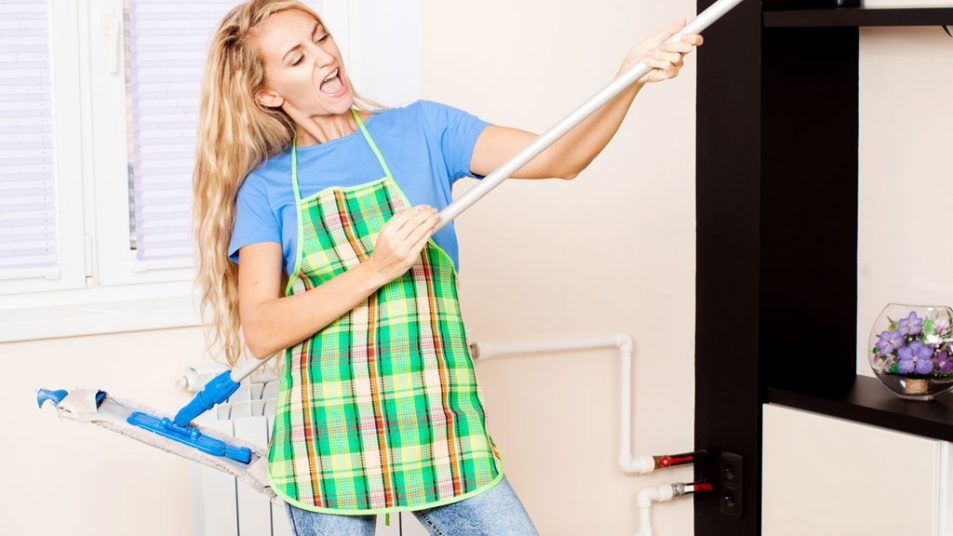 Funny Woman with Mop